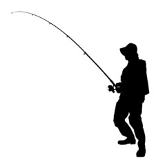 A silhouette of a fisherman holding a fishing pole