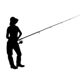 A silhouette of a fisherwoman holding a fishing pole
