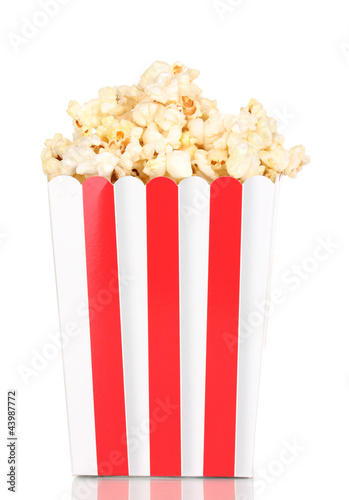 classic box of popcorn isolated on white