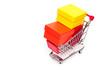 Einkaufswagen mit Geschenkkartons