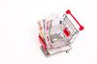Geldscheine im Einkaufswagen