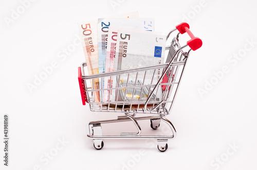 Euroscheine in einem Einkaufswagen