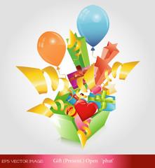 eps Vector image: gift(present.) open 'phut'