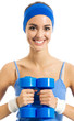 Cheerful woman with dumbbells, over white