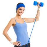 Woman with dumbbell and growth, over white