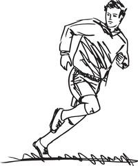 Sketch of Soccer Player. Vector illustration