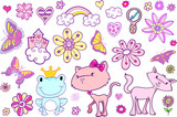 Cute Fairytale Spring Vector Set