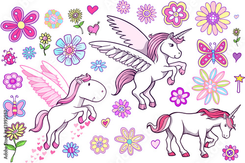 Unicorn Pegasus Fairytale Spring Vector Set