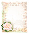 Vintage frame  with rose. Imitation of watercolor painting.