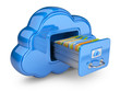 File Storage In Cloud. 3D Comp...