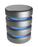 Database 3D. Storage concept. 3D icon isolated on white backgrou