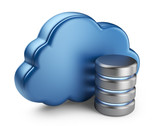 Cloud computing and database. 3D icon isolated on white backgrou