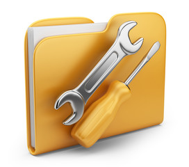 Folder with tool. 3D computer icon isolated on white