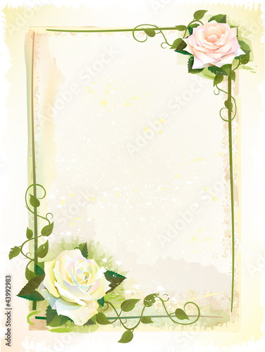 Old style  frame with roses. Imitation of watercolor painting