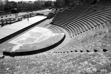 Remains of the Ancient Theater of Fourvière in Lyon, France.