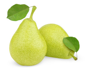 Green yellow pears with leaves on white