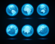 Globe earth night light icons set vector design elements