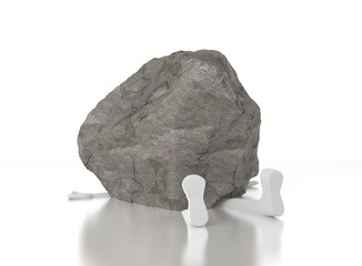 3d person crushed by a heavy rock. Heavy burden. Too much