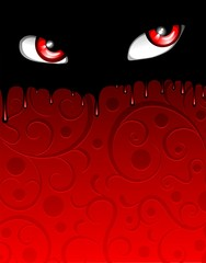 Red Bloody Eyes Halloween Poster-Vector