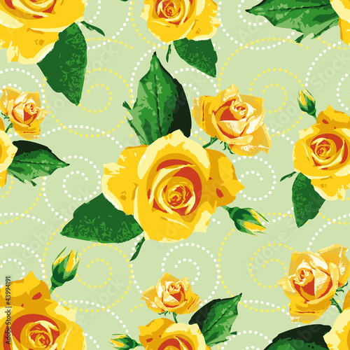 Seamless background/pattern with yellow rose flowers