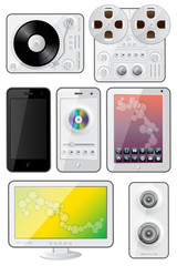 Isolated gadgets icons. EPS 10 vector illustration.