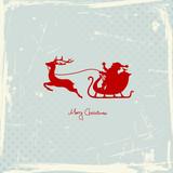 Fototapety Santa & Reindeer Sleigh Red Retro Background