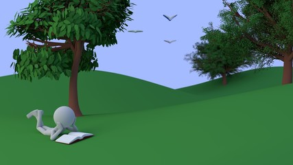 3d person reads a book under a tree in a valley