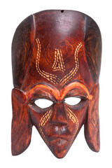 Small african hand carved wooden warrior Maasai mask