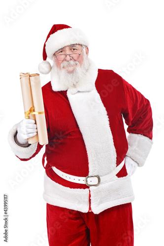Santa holding scroll paper