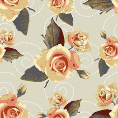 Seamless vector vintage pattern with flowers of rose