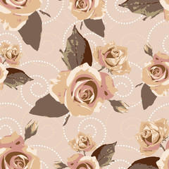 Seamless vector vintage pattern with rose flowers