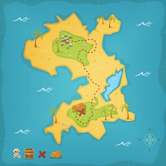 Treasure Island And Pirate Map © benchart