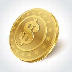 Dollars money coin in perspective vector design element