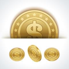 Dollars money coins in perspective vector design elements