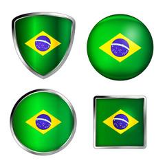 glossy brasilia flag icon set