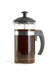 French press coffee maker on white background