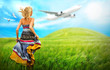 Woman running across field with idyllic landscape. Airplane and