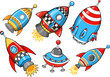 Cute Super Rocket Vector Illustration Set