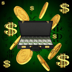 Gold coins with dollar sign on an abstract background