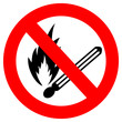 No naked fire sign, vector illustration