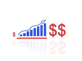 Business graph growing with Dollar