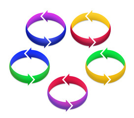 Colorful 3D Arrows in Circles