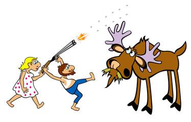 crazy hunter hunting moose
