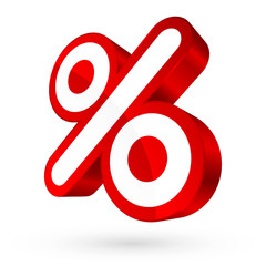Red/White Percent Sign 3D Sale