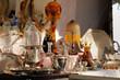 canvas print picture - brocante Pâte de verre Argenterie Cristal