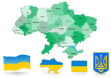 ukraine map.  Vector. Flag and Coat of arms.