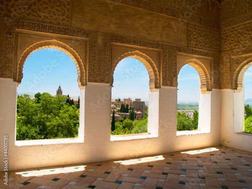 Moorish pavilion and gardens of Alhambra, Granada, Spain