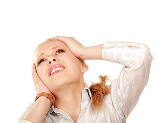 A young woman with a headache holding head
