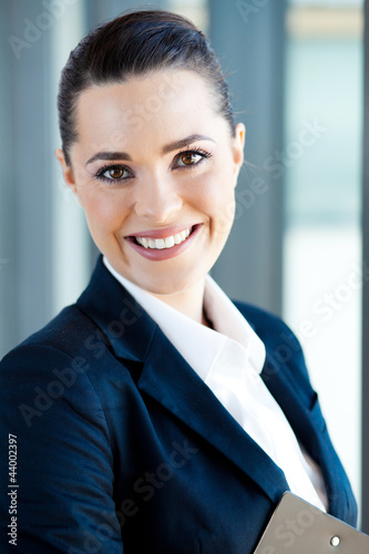 beautiful young businesswoman closeup portrait