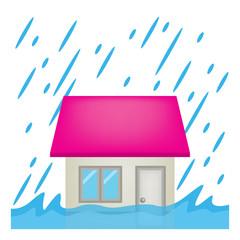 住宅 家 台風 洪水 イラスト